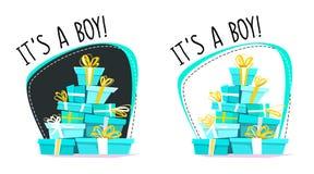 这是男孩问候明信片或贴纸,动画片错误透视最小的平的样式 充分连续汽车礼物,礼物stac 皇族释放例证