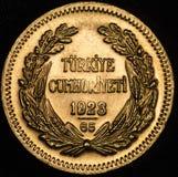 这枚Kurush阿塔图尔克土耳其金币 库存图片