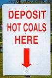 这里储蓄热的煤炭签字 图库摄影
