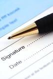 这里日期签字 免版税图库摄影