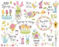 这里春天集合手拉的元素花鸟花圈兔子复活节逗人喜爱的传染媒介例证印刷术春天行情 向量例证