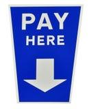 这里蓝色工资签字 免版税库存图片