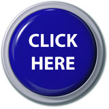 这里蓝色按钮单击下落遮蔽 免版税库存照片