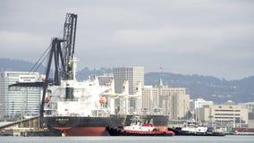 进入奥克兰的港散装货轮BUNUN一点 库存照片