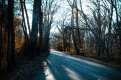 进入山口的柏油路风景通过树、村庄和森林地方 或者Aze农村地方  库存图片