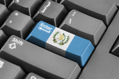 进入有危地马拉旗子的按钮 免版税库存图片