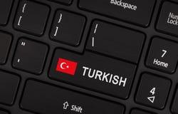 进入有旗子的土耳其-语言的概念按钮 图库摄影