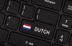 进入有旗子的荷兰-语言的概念按钮 免版税库存照片