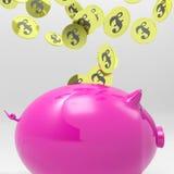 进入Piggybank的硬币显示英国储蓄 免版税库存图片