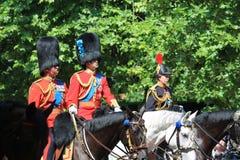 进军颜色,伦敦,英国, - 2017年6月17日;威廉王子,进军的查尔斯王子和安妮公主颜色游行  库存图片