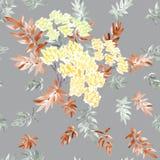 进展的春天分支的无缝的样式与黄色花的和灰色和灰棕色在灰色背景离开 水彩 免版税图库摄影