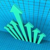 进展箭头展示财政报告和分析 免版税图库摄影