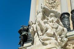 进展雕塑,宜人的撤退池塘,马德里的公园 免版税库存图片