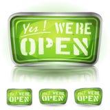 进来了开放标志 免版税库存图片