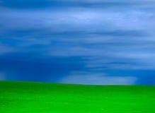 进来在绿草象草的小山的风暴 免版税库存图片