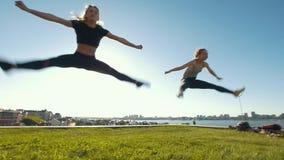 进行同步跳跃在草的两名年轻亭亭玉立的妇女在太阳下 股票录像
