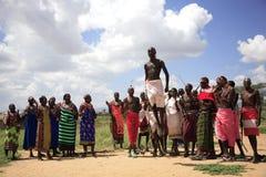 传统Samburu舞蹈 库存照片