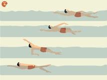 进行仰泳游泳的步美好的例证传染媒介,游泳设计 免版税图库摄影