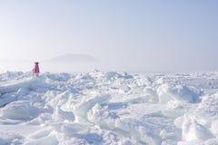 远北部的冰冷的海 库存照片