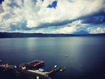 远矢,北海道,日本湖风景  免版税库存照片