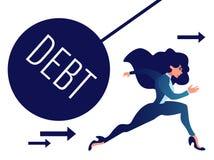 远离沉重的债务球的女实业家奔跑 向量例证