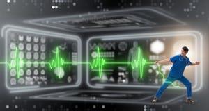 远程医学概念的心脏科医师与心跳 库存例证