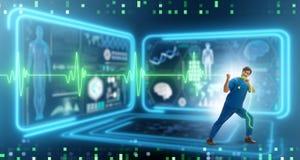 远程医学概念的心脏科医师与心跳 向量例证