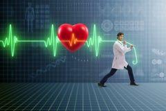远程医学概念的心脏科医师与心跳 库存图片