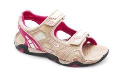 远足凉鞋的妇女 库存照片
