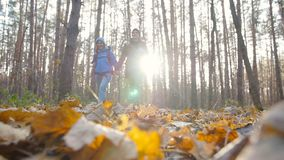 远足和自然旅行的概念 徒步旅行者年轻夫妇在秋天的森林里 影视素材