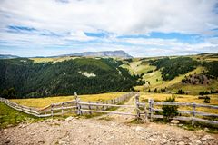 远足在一条小道路的阿尔卑斯 库存图片