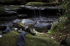 远足在小河的齿轮 库存图片