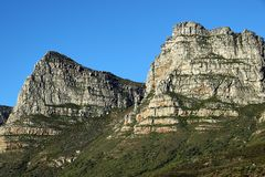 远足在桌山,开普敦,南非 库存图片