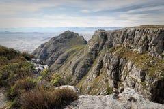 远足在桌山,开普敦,南非 免版税图库摄影