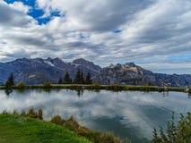 远足在登上Brunni在昂热尔贝格在瑞士阿尔卑斯 库存图片