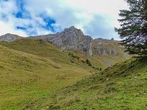 远足在登上Brunni在昂热尔贝格在瑞士阿尔卑斯 免版税库存图片