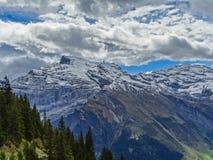远足在登上Brunni在昂热尔贝格在瑞士阿尔卑斯 免版税图库摄影
