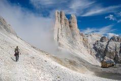 远足在白云岩 免版税图库摄影