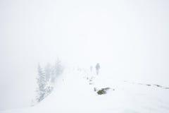 远足在阿尔卑斯的极端冬天 图库摄影
