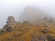 远足在雾 免版税库存照片
