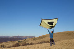 远足在高加索山脉 库存照片