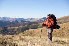 远足在高加索山脉 免版税库存照片