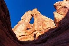 远足在Canyonlands 库存照片