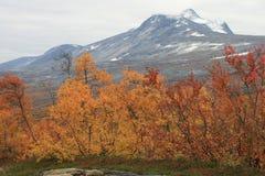 远足在Lofoten挪威山  免版税库存图片