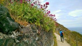 远足对Greystones峭壁步行的捣碎 图库摄影