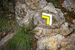 远足或山步行的指南标记 免版税库存照片