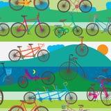 远足无缝的样式的自行车 库存图片