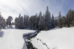 远足沿一条冻小河的冬天道路在冬天妙境 库存图片