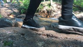 远足沿足迹在一个晴天 小组朋友夏天在户外山自然的冒险旅行 股票录像