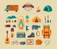 远足的和野营的设备-象集合和 向量例证